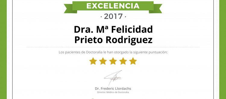 certificado excelencia dra. prieto doctoralia
